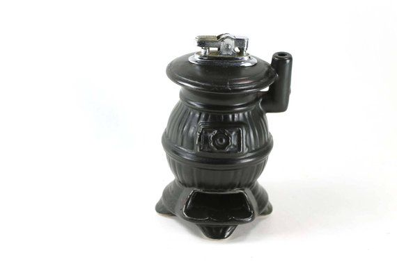Artmark Potbelly Stove Table Lighter Vintage Ceramic Light Table Vintage Ceramic Ceramics