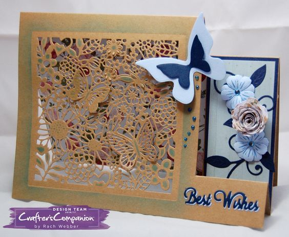 Side Stepper card made using Crafter's Companion Die'sire Create a Card die Country Garden. Designed by Rachel Webber #crafterscompanion