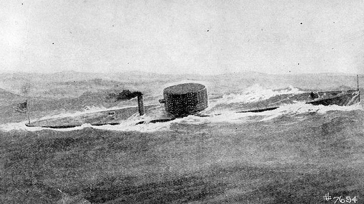 Print: USS Monitor at sea