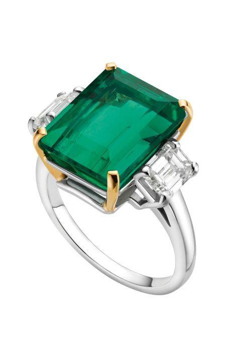 BulgariPlatinum and Yellow Gold with Emerald and Diamond Ring, Price upon request;bulgari.com