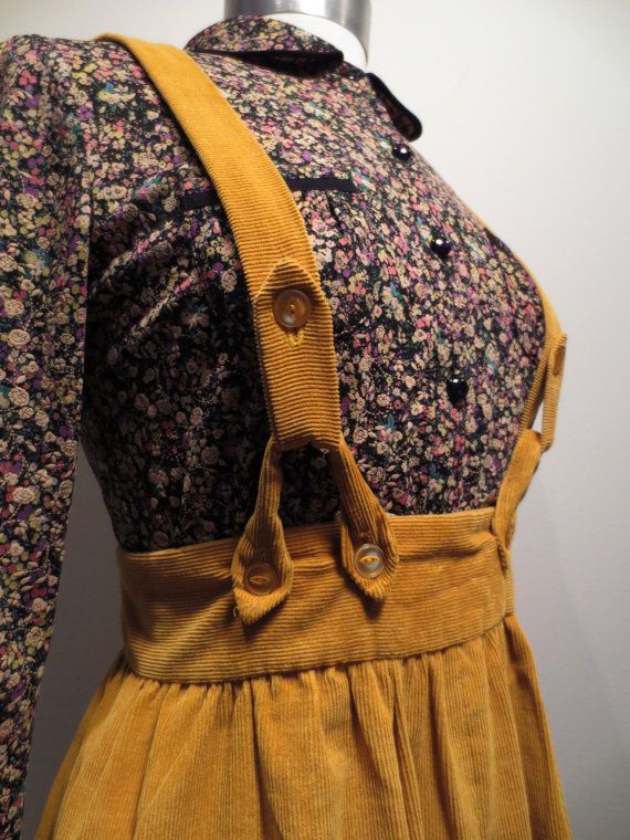 Vintage Pinafore Dress Suspender Skirt Gold by CuriousFawnVintage