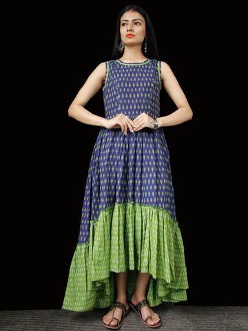 e14499ff0593 Indigo Green Ivory Hand Woven Ikat Asymmetric Sleeveless Dress - D311F1744