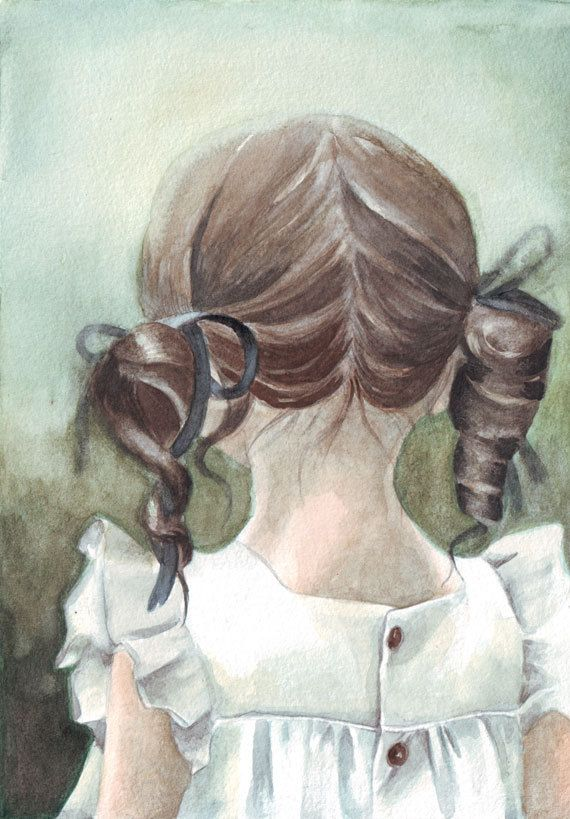 Original watercolor painting Little Girl's Pig Tails in White Dress art