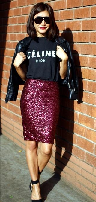 burgundy sequin pencil skirt / celine tee / leather jacket
