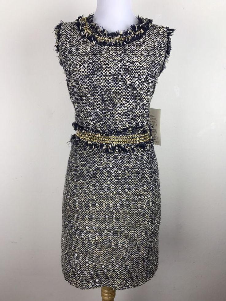 NWT Boston Proper Dress Size 12 Tweed Embellished Sheath Navy Career Work #BostonProper #Sheath #WeartoWork