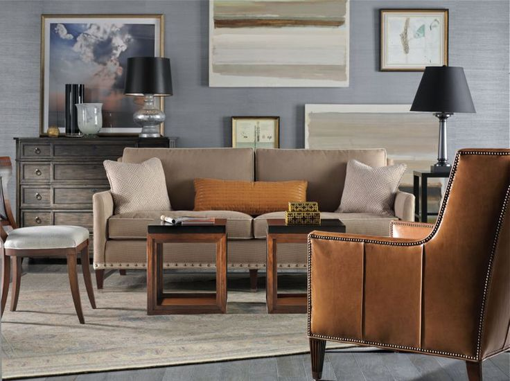 Residential Living Room Interior Design With Compendium End Table By Vanguard Furniture