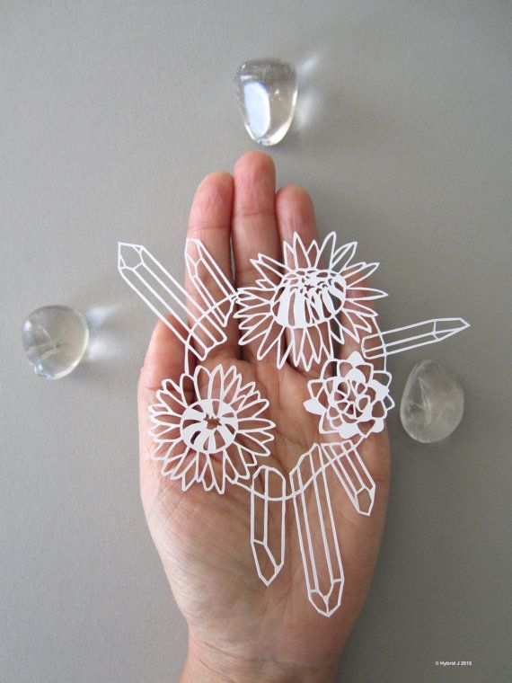 MINI Magical Flower and Crystals Papercut  Life by HybridJ on Etsy