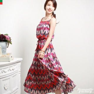 Buy 'Romantic Factory – Drawstring-Waist Patterned Maxi Dress' at YesStyle.com plus more South Korea items and get Free International Shipping on qualifying orders.