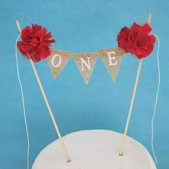 Burlap Cake banner, smash cake,  birthday banner,ONE C201- birthday bunting cake decoration