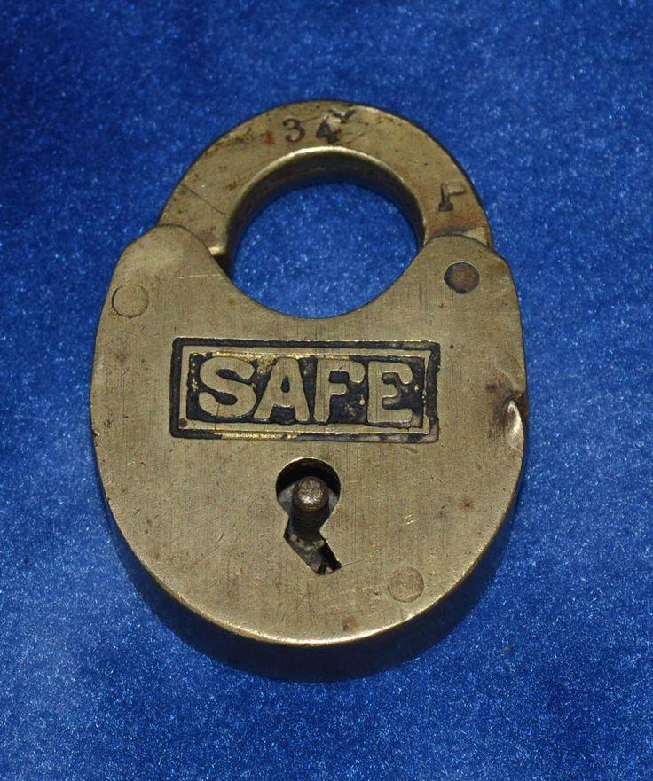 VINTAGE ANTIQUE SAFE PADLOCK NO KEY VAULT MACHINE TOOL SHOP SHED GARAGE BARN