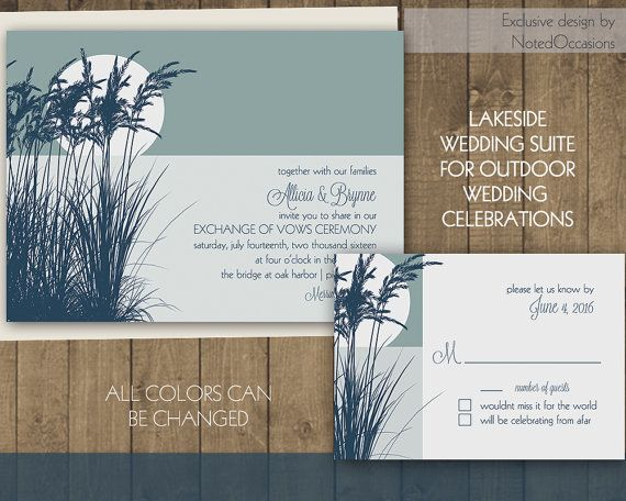 Rustic Wedding Invitation Set | By the lake outdoor wedding Invitations with Reeds Lake | Campground Wedding Invites Casual Printable File by NotedOccasions