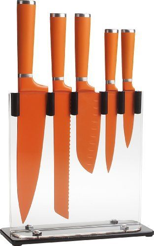 Trudeau 5-Piece Knife Block Set, Orange by Trudeau. $79.99. Comes in gift box. High carbon stainless steel blade. Includes acrylic storage rack. Non slip coating on handle. Resin coating on blade helps keep food from sticking. The Trudeau 5-piece Knife Set includes a 4-inch paring, 6-inch santoku, 5-inch utility and an 8 inch bread and chef knife. Each knife is made of 100-percent heavy gauge, high carbon steel from tip to tip giving them the weighty feel of pr...