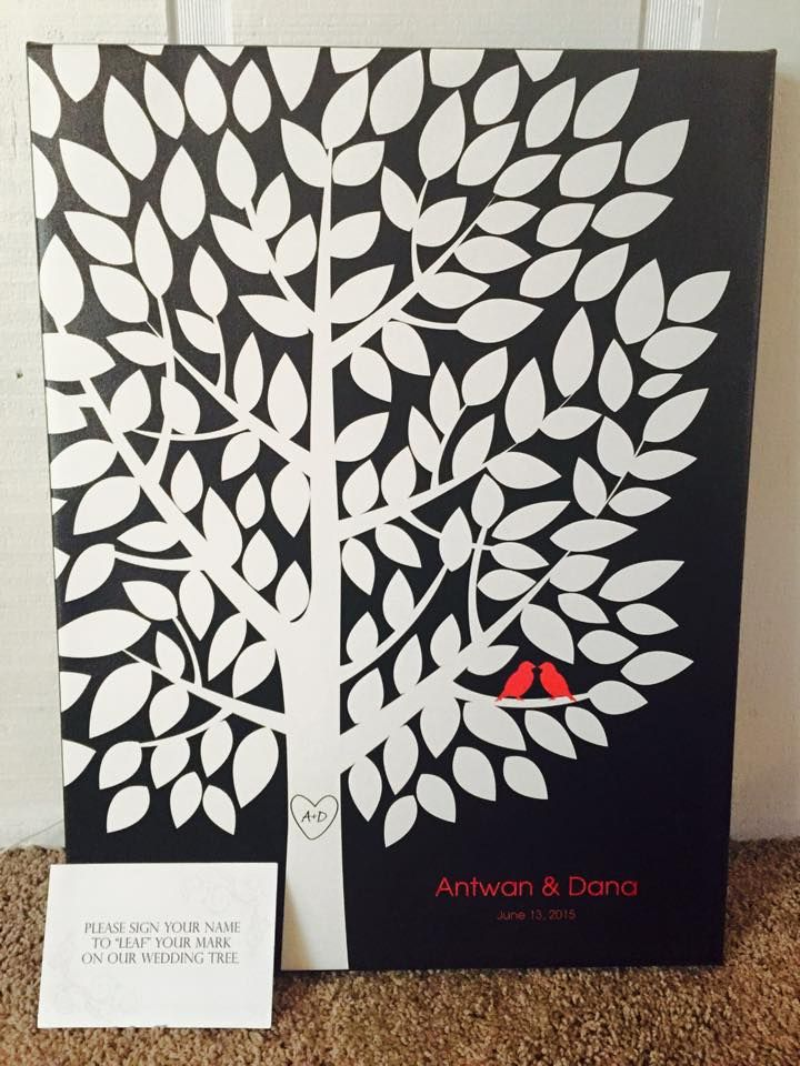 Wedding Tree Canvas | Guest Book Alternative | Customer Photo | Wedding Colors - Black, White, Red | Peachwik.com