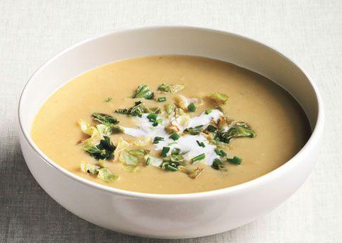 potato, green cabbage and leek soup with lemon creme fraiche