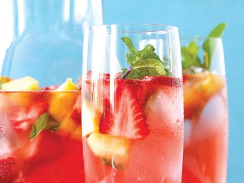 Agua Fresca | Imagine a pitcher of this beautiful Agua Fresca on your patio table…fresh fruit, soda, crushed ice and a garnish of mint. Cheers from #Sobeys! #airmiles #longweekend