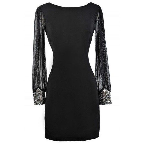 Highlight Of The Night Embellished Cuff Black Dress ❤ liked on Polyvore featuring dresses, cocktail party dress, embellished cocktail dress, long sleeve dresses, holiday party dresses and holiday cocktail dresses