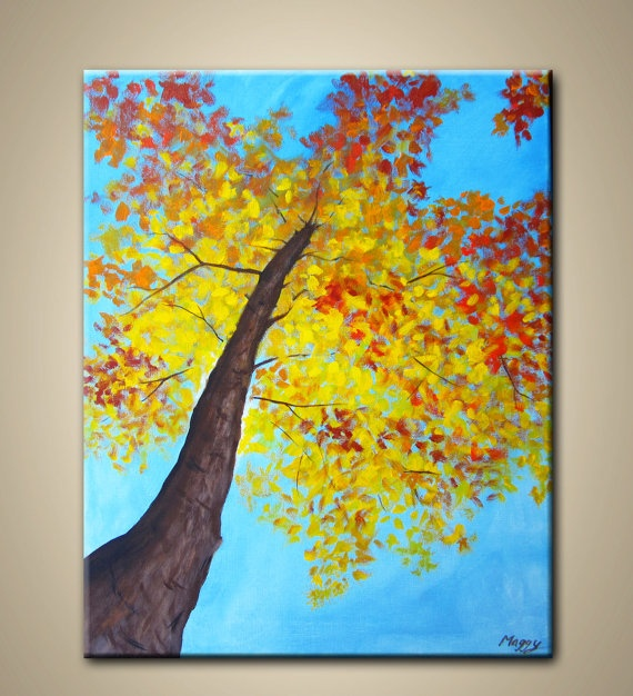 looking up maple tree- original modern painting,16x20inch, ready to hang,10% OFF…