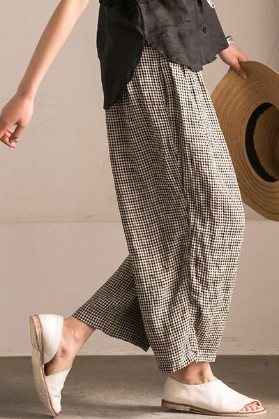 Lovely Black White Grid Wide-legged Pants Linen Casual Trousers