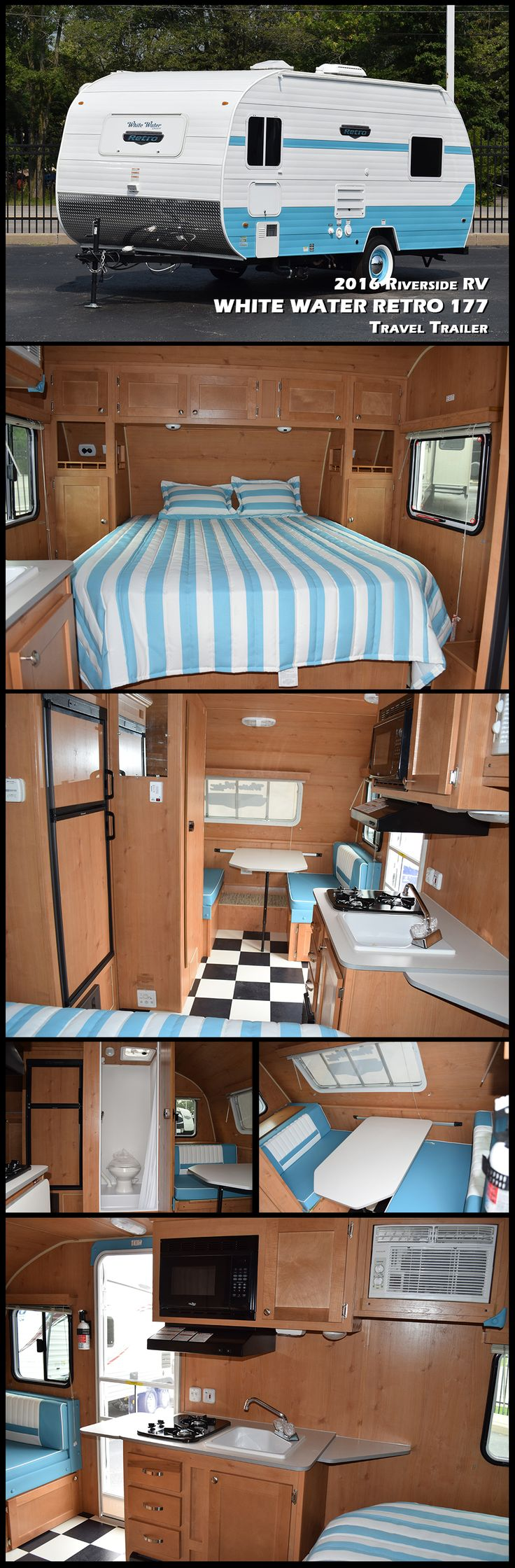 """This 2016 RIVERSIDE RV WHITE WATER RETRO 177 Ultra-Lite travel trailer has everything you would want while camping, including AC, furnace, bathroom/shower, galley with large sink and microwave oven, 2 stove top burners, refrigerator, dinette booth/bed, and a 60"""" by 74"""" walk-around bed. True Amish craftsmanship goes into each unit, and although they look like a throw-back to the 1950's, these trailers have lightweight aluminum framework for strength and durability."""