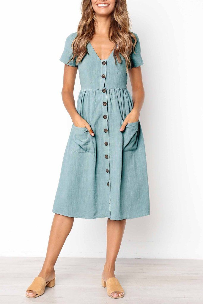 Venidress V Neck Buttons Short Sleeves Dress