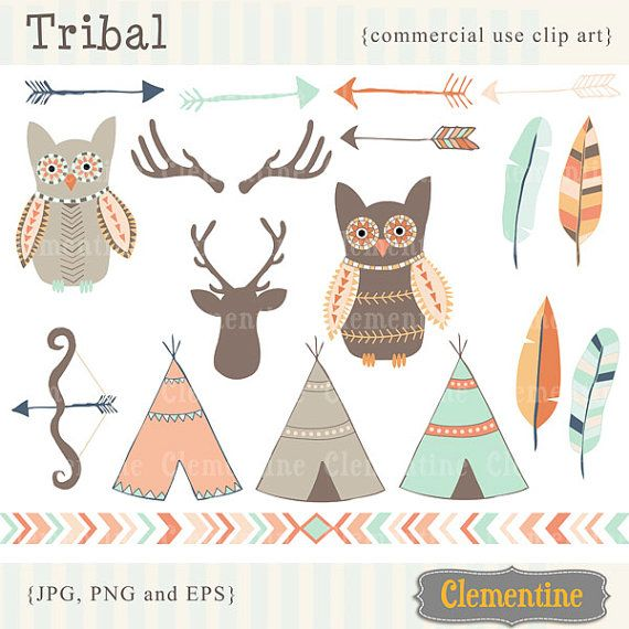 40 OFF SALE Tribal clip art images  tribal by ClementineDigitals, $3.60