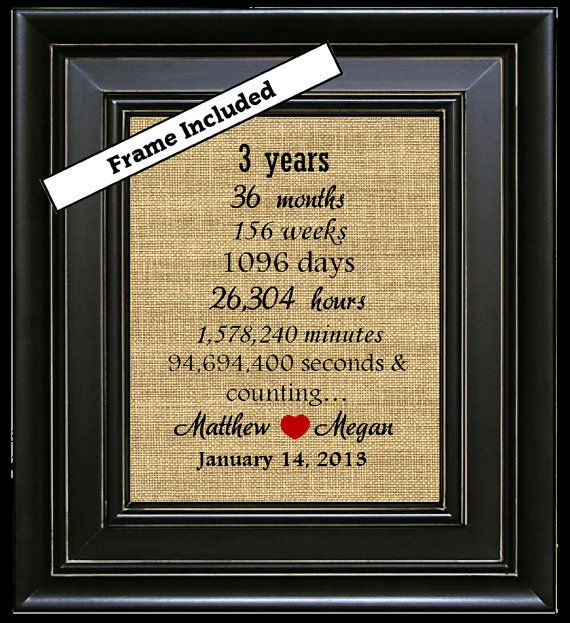 Framed Personalized Third Wedding Anniversary Gift 3rd 3 Year Burlap Print Leather Custom