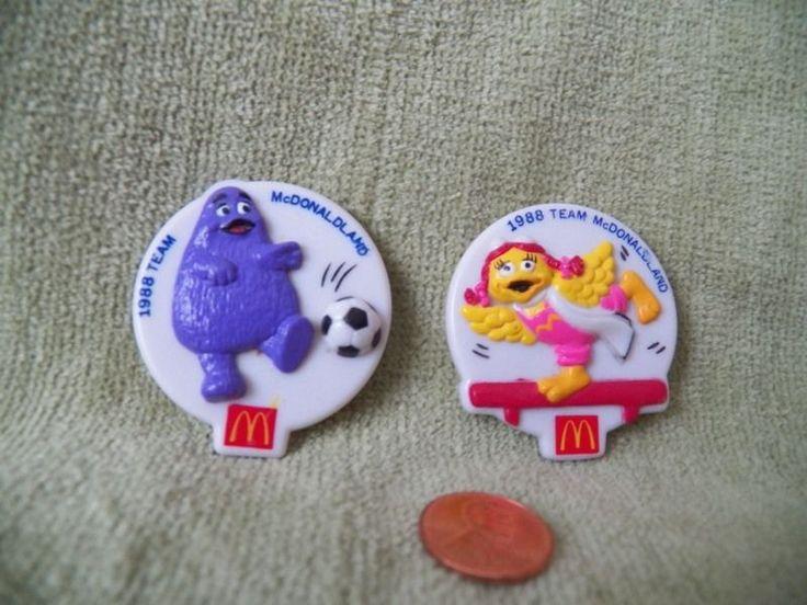 Mcdonalds 1988 Olympic Team Button Pins Badges Birdie Gym Grimace Soccer figures #McDonalds