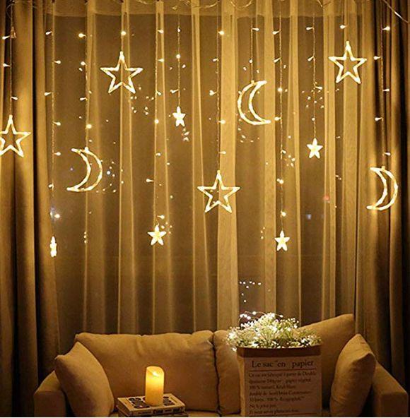 LED Stern Vorhang Lichter Fenster Vorhang String Licht Mond Sterne String