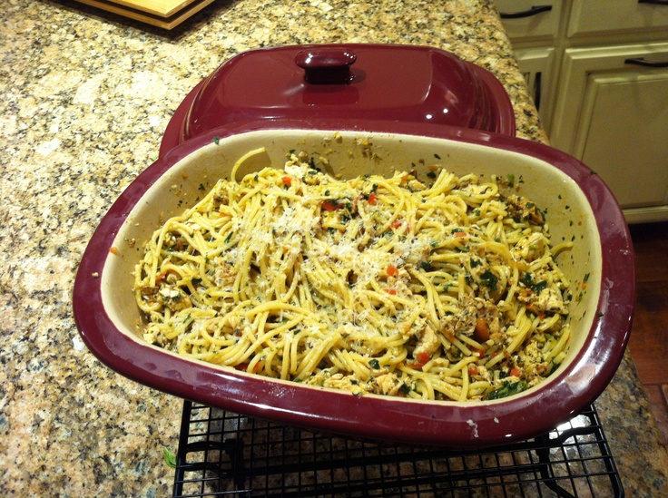 Creamy Lemon Pesto Chicken made in the microwave using Pampered Che's Deep Covered Baker. This recipe is from the Pampered Chef cookbook Dunner in your Deep Covered baker.