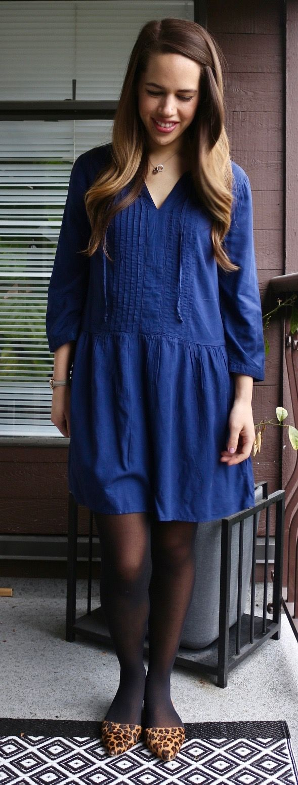 Jules in Flats - Pleated Tie-Neck Swing Dress from Old Navy