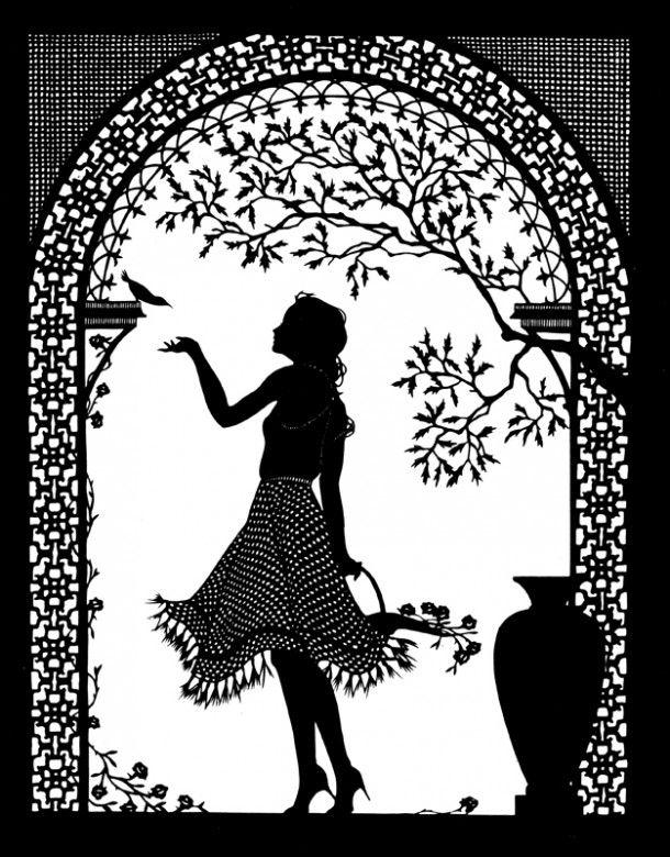 Girl and Bird Cut Paper Art