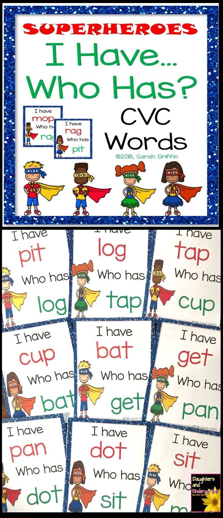 I Have, Who Has CVC words | reading game | kindergarten | PreK | first grade | tutor activity | superheroes
