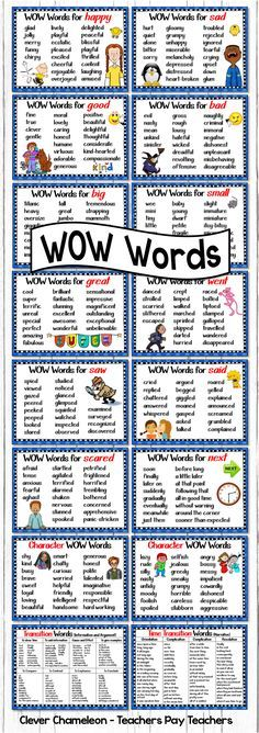 Other ways to say ... Said, Went, Scared, Big, Small, Sad, Happy, Saw, Next, Great, Good, Bad, Positive Character Words, Negative Character Words, Time Transition Words for Narratives and Transition Words for Information and Argument Texts. (16 page digital download)