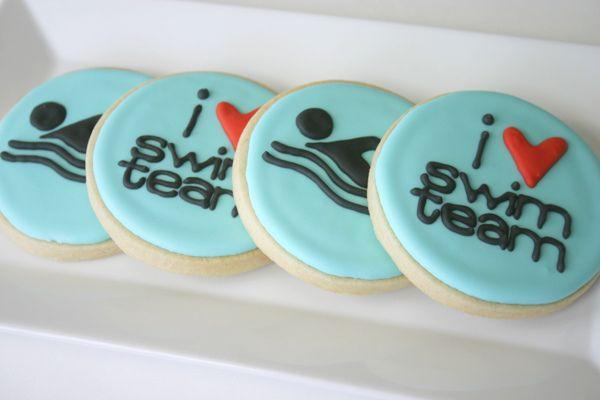 Cute swim team cookies!