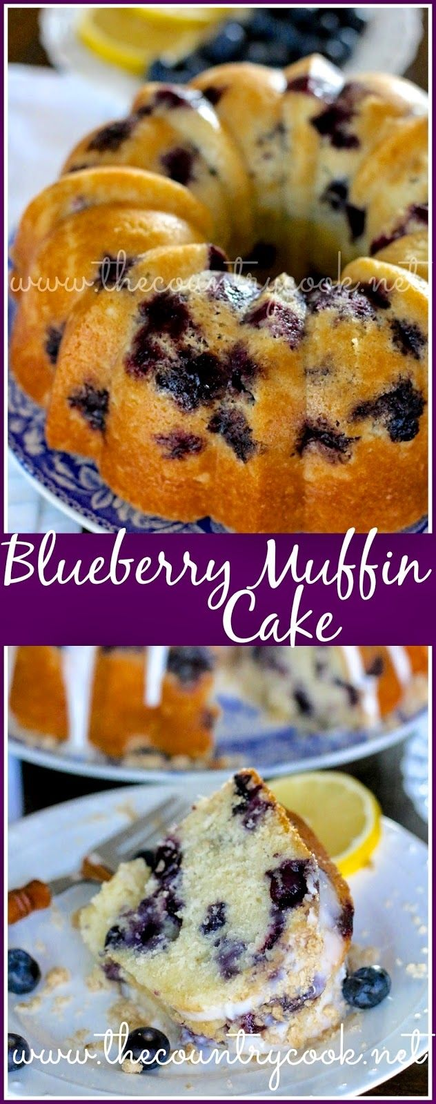 Blueberry Muffin Cake from The Country Cook. Homemade, moist cake filled with bursting blueberries all topped off with a touch of lemon flavored drizzled icing - YUM! Good Cake for holiday  #cupcake  #sweet