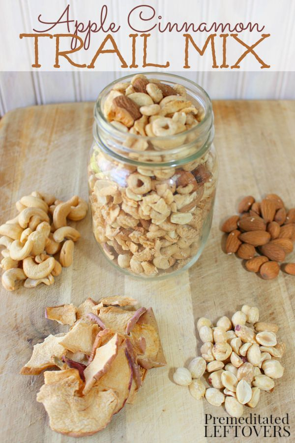Looking for a delicious candy-free trail mix recipe? This delicious apple cinnamon trail mix recipe includes apple cinnamon GlutenFreeCheerios, nuts, and apple chips. The Apple Cinnamon Cheerios and apple chips add just the right touch of sweetness to balance the saltiness of the nuts. AD There is also a recipe for making Rocky Road Cereal Bars for those days when you want a sweeter snack.