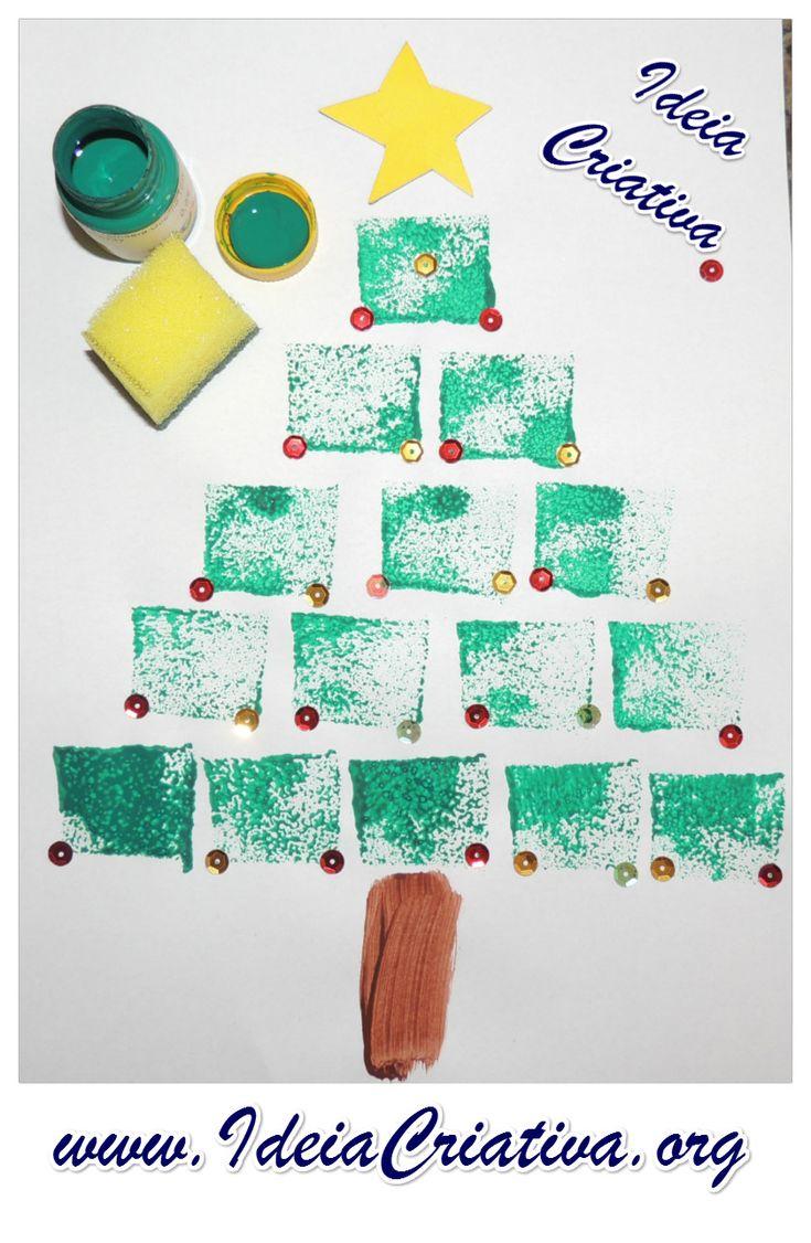 Árvore de Natal Pintura esponjada.