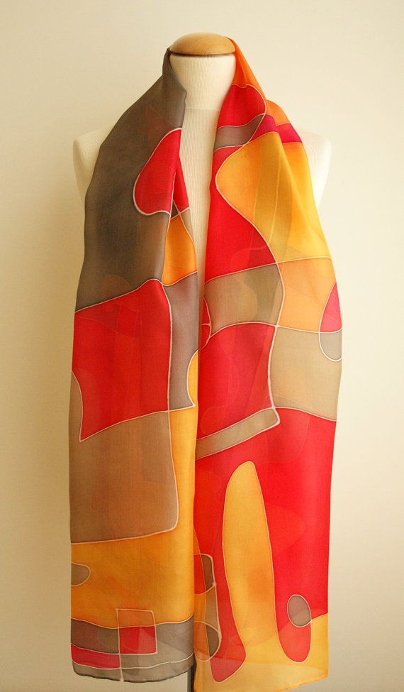Add some wearable art to your outfit this season! This is a beautiful hand painted silk scarf. This unique asbtract design is in some shades of red, orange, brown, tan and other colors. This will look great on you with any outfit, perfect for everyday wear or an elegant party or wedding. Size: width: 180 cm = 71 inches height: 45 cm = 18 inches Materials: Silk: ponge 5 Washing: I recommend to wash this scarf hand only, although you can use the washing machine with the softest s...