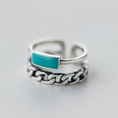 Turquoise Stone Double Rows Ring 925 Sterling Silver Adjustable