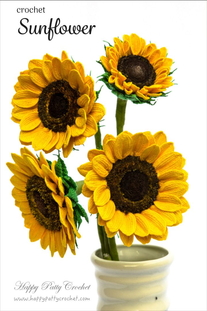 Crochet Sunflowers (Pattern inside) by Happy Patty Crochet