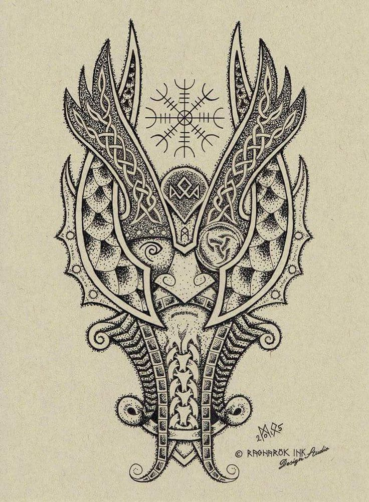 Tattoos Celtic Norse Odin Dotwork Tattoo Design By