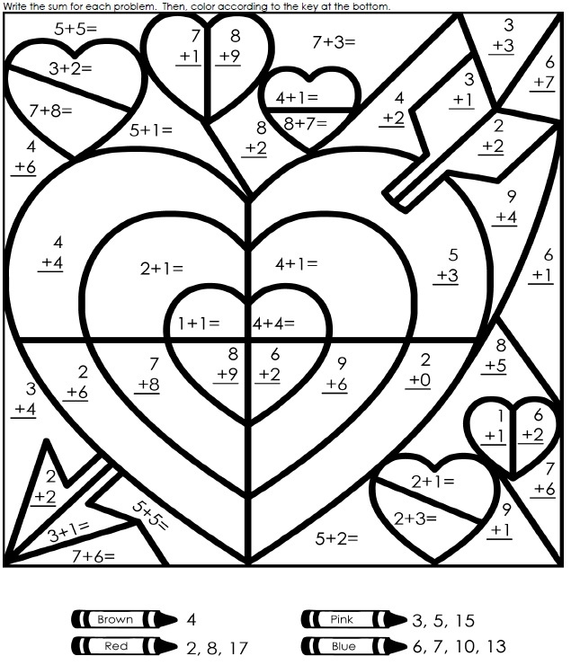 valentine u0026 39 s day addition worksheet
