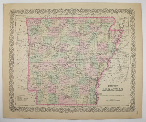 1881 Antique Map of Arkansas State Map, Original Colton Map, Arkansas Gift for Parents, Vintage Map, Man Cave Decor Gift for Him available from OldMapsandPrints.Etsy.com #Arkansas #ManCaveDecor #OriginalVintageMaps