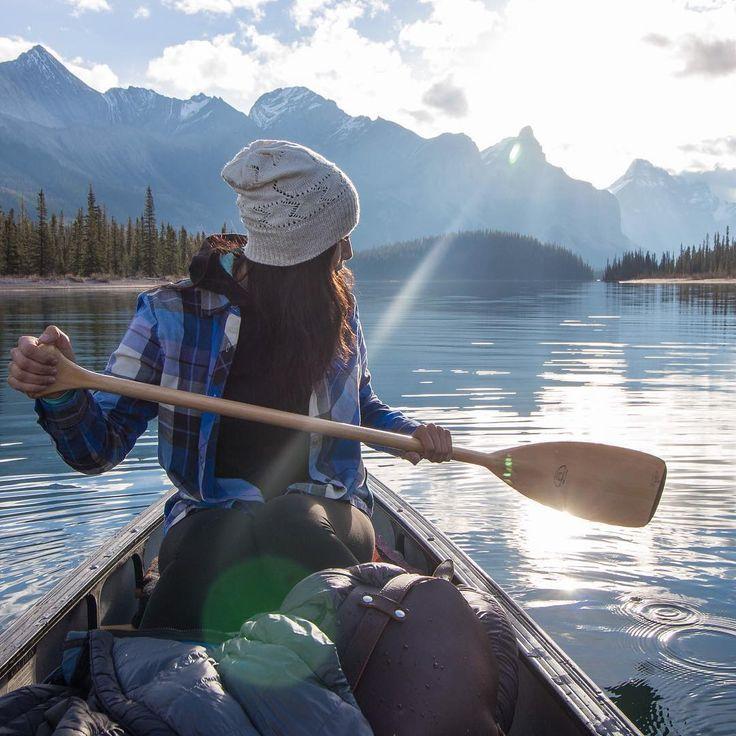 Canoeing on a mountain lake