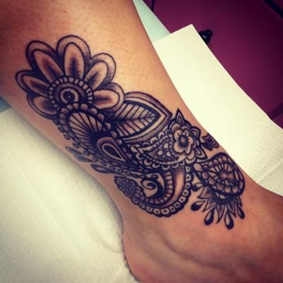 Flower paisley tattoo cover up
