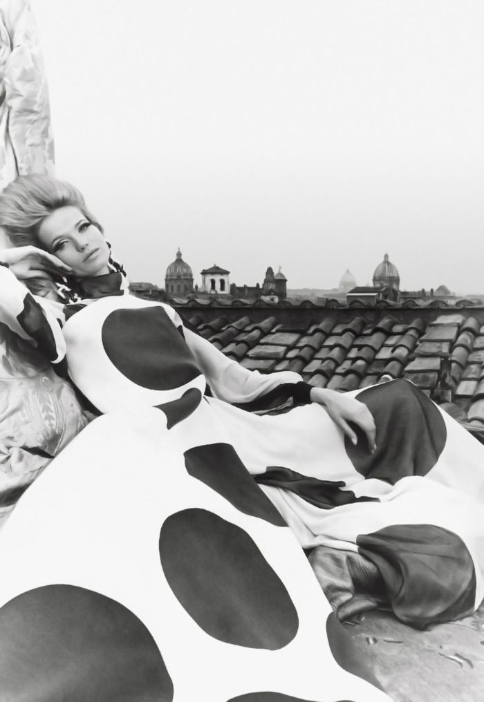Veruschka, 1967  Photographer: Franco Rubartelli  Valentino, Spring 1967 Couture: Spring Sum 1967, Polka Dots, Veruschka Wear, Franco Rubartelli, Couture Spring Sum, Wear Haute, Fashion Photography, Valentino Couture, Haute Couture