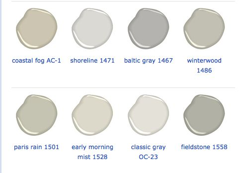 PAINT COLORS – great collection of Benjamin Moore colors.  Fieldstone and Coastal Fog are my favorites and especially great for cabinets!
