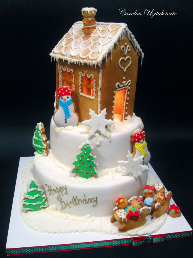 gingerbread house on top pf cake  - flipping genius!