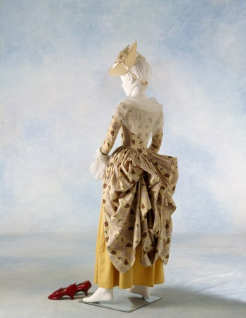 View of a c1770s cotton polonaise at Berrington Hall, Herefordshire