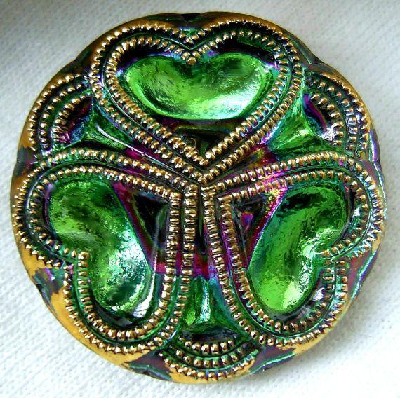 LG Czech Glass Button  Emerald Green Mirror Back by ButtonOdyssey, $5.99